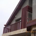 Balustrada exterioara lemn brad finisaj mahon