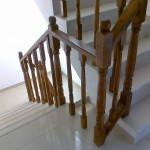 Balustrada lemn stejar scara gresie